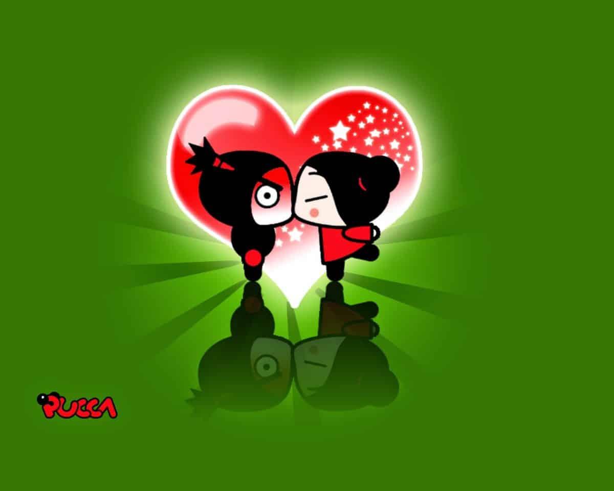 imágen de amor de pucca besando a garu con fondo de corazón