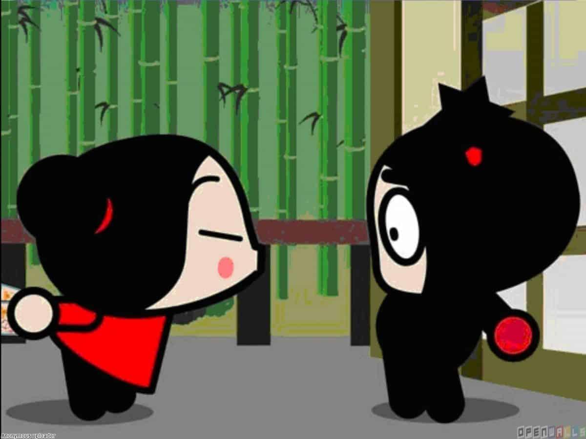 imágen de amor de pucca intentando besar a garu