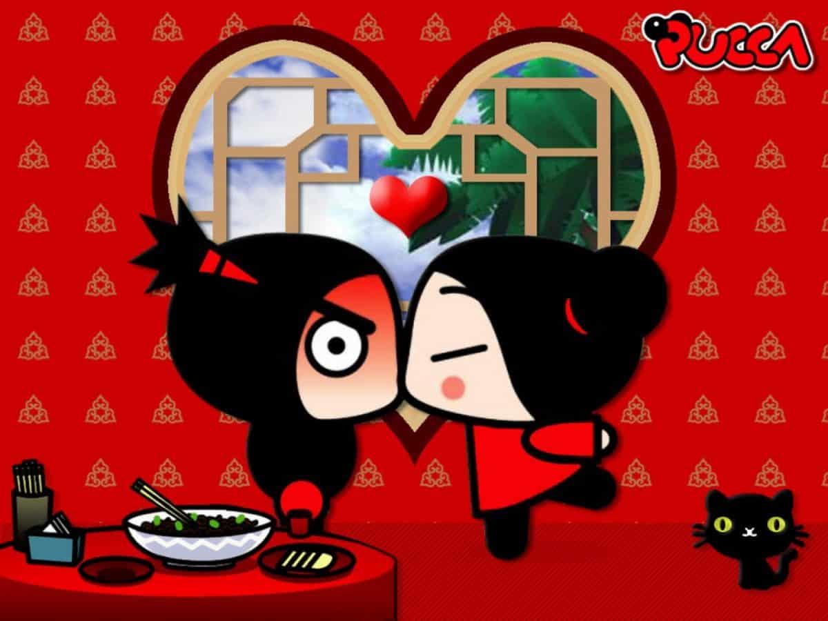imágen de amor de pucca y garu con ventana en forma de corazón
