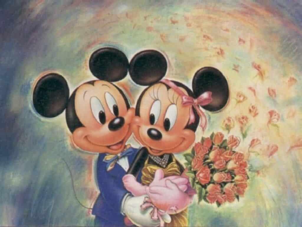 dibujo a lápiz de Mickey abrazando a Minnie el día de su boda