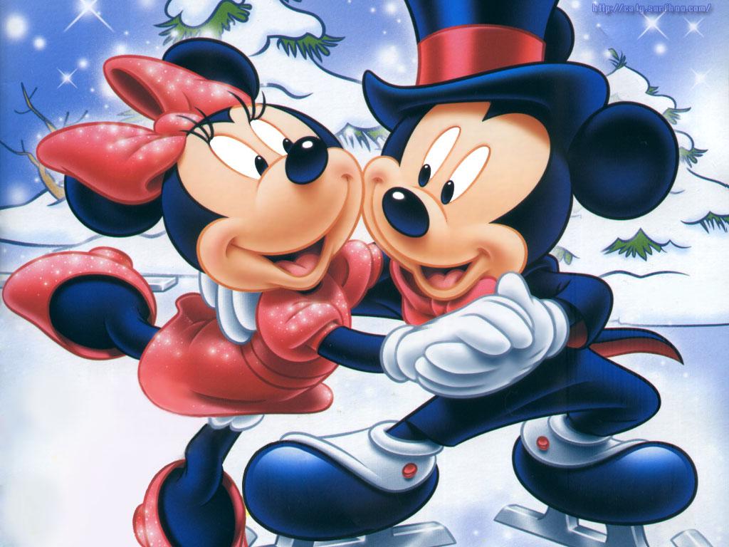Imágen de amor de Minnie y Mickey bailando sobre hielo