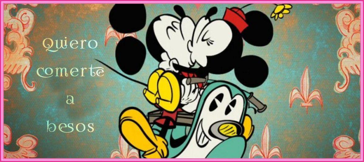 Imágen de amor de Minnie y Mickey besandose apasionadamente