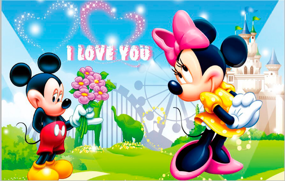 Imágen de amor de Minnie y Mickey coqueteando en Disney world