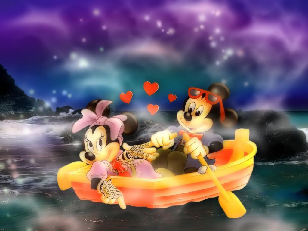 Imágen de amor de Minnie y Mickey de paseo en bote a medianoche