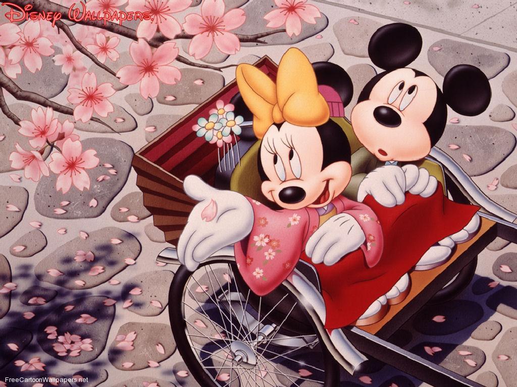 Imágen de amor de Minnie y Mickey paseando en un carruaje tradicional japonés