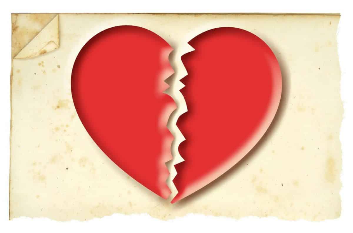 Imágen de amor despechado de un corazón roto