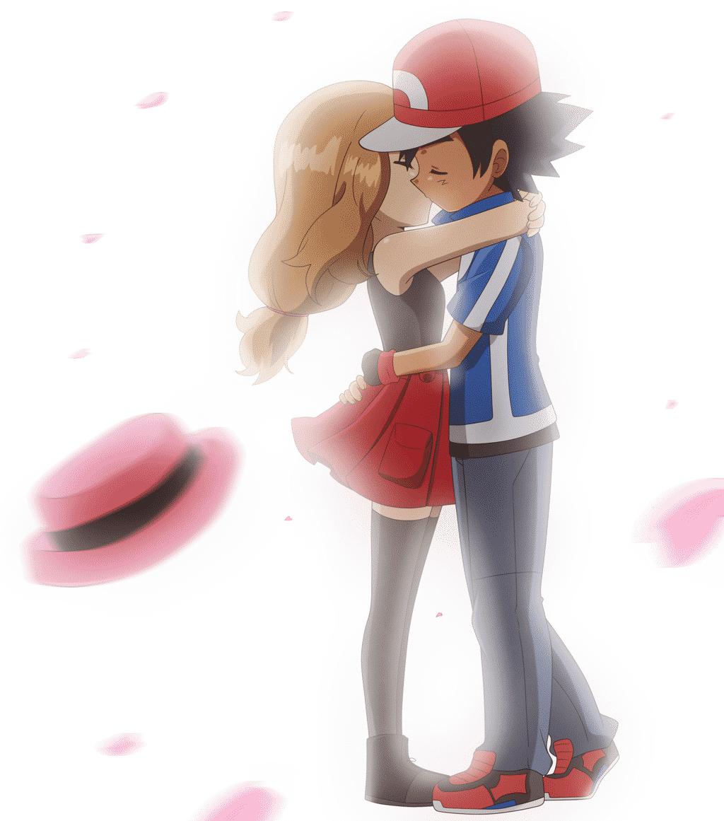 imagenes de amor anime beso romántico de serena y ash