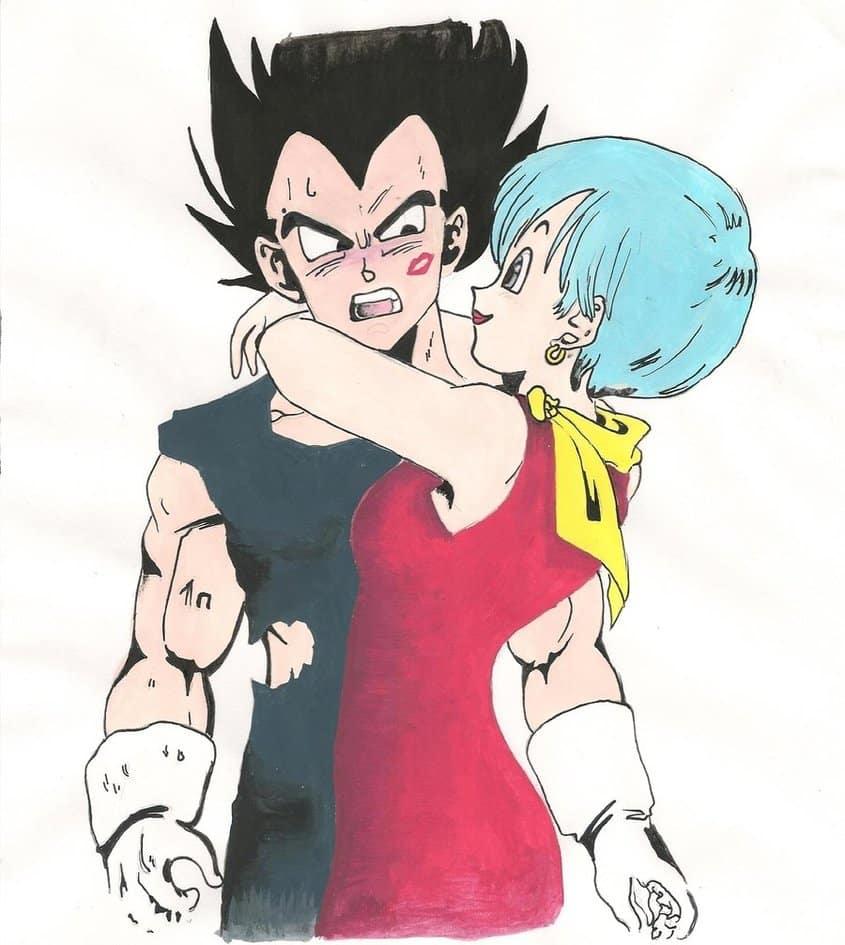 imagenes de amor anime bulma abrazando a vegeta