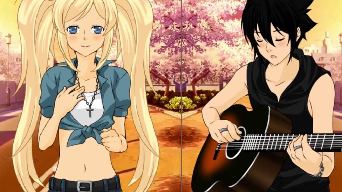 imagenes de amor anime sasuke tocando guitarra junto a naruko