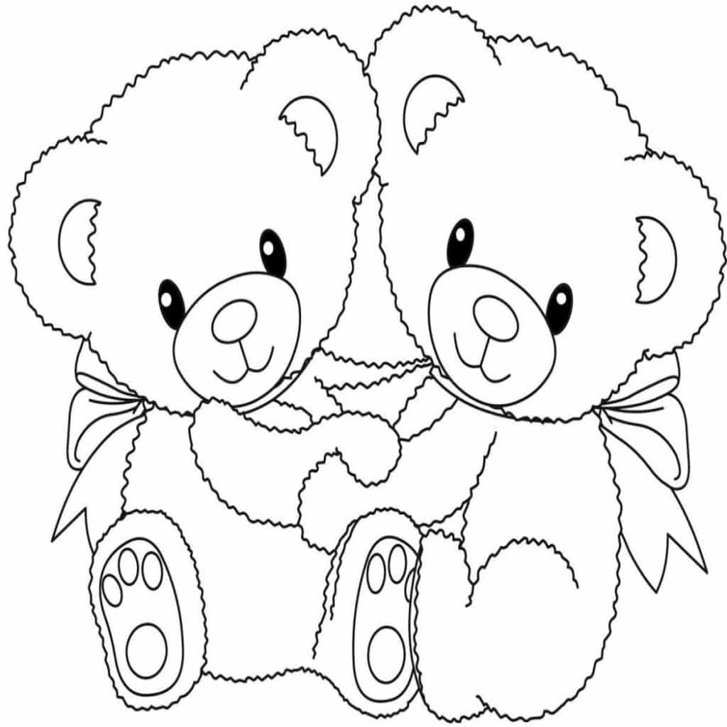 imagenes de amor para colorear de 2 ositos
