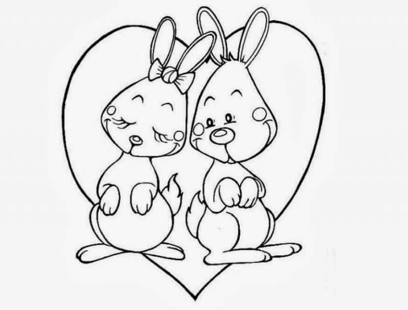 imágenes de amor fáciles de dibujar dos conejos enamorados
