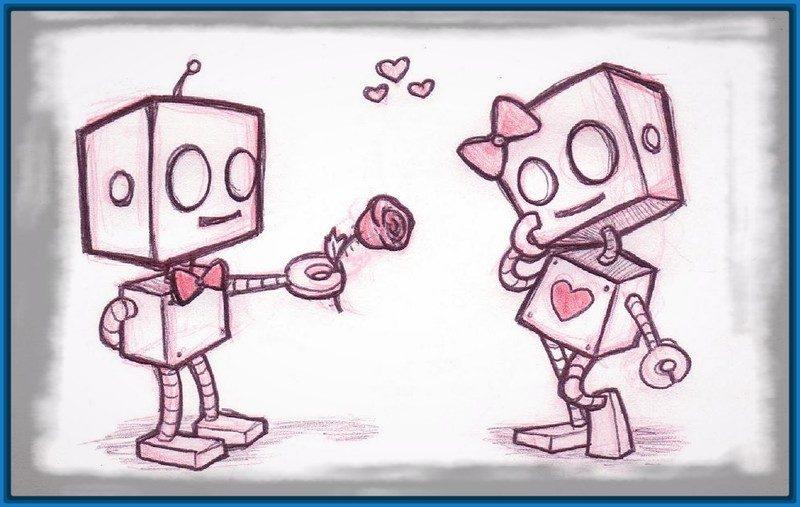 imágenes de amor para dibujar para mi novia 2 robots enamorados