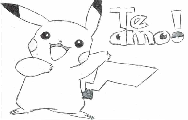 imágenes de amor para dibujar que digan te amo pikachu