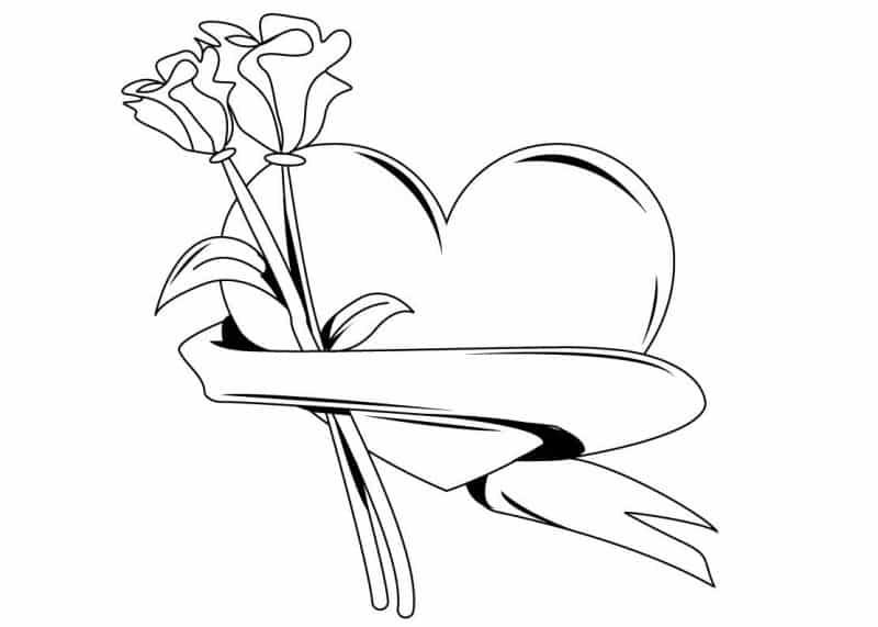 imágenes de amor para dibujar un corazón y 2 rosas